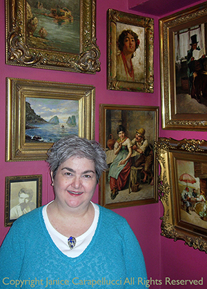 Janice Carapellucci with collection of Donatus Buongiorno paintings. ©2005 All Rights Reserved.
