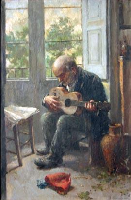 Man Playing Guitar Near Window painting