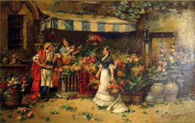 Flower Market painting