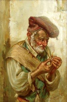 Man Lighting Pipe painting