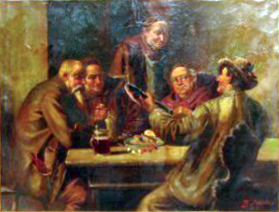 Man Playing Guitar in Tavern painting