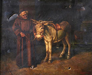 Monk with Donkey painting