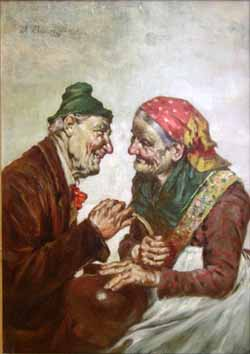 Old Couple with Brown Pot painting