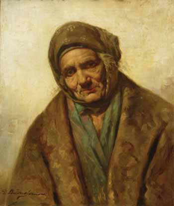 Old Woman with Shawl painting