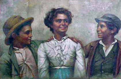 Woman with Two Boys painting