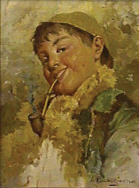 Boy Smoking Pipe painting