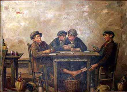 Four Boys Playing Cards painting
