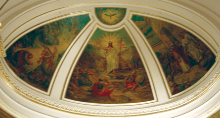 Principal Episodes in the Life of Christ, mural in curved ceiling of apse. Photograph ©2007 Janice Carapellucci. Used with permission.