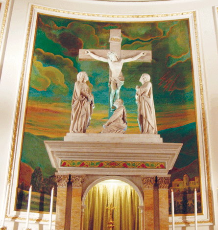 Principal Episodes in the Life of Christ, mural behind crucifixion sculpture behind altar. Photograph ©2007 Janice Carapellucci. Used with permission.