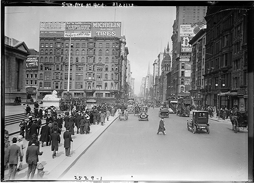Photograph of Fifth Avenue between 40th and 41st streets looking north to 42nd on March 23, 1913, the time period Domenic interviewed for his Williamsport job perhaps in one of the office buildings on the right, then ate lunch at a street cart and visited the The New York Public Library which is on the left. He reports that he was dressed well for his interview, perhaps as well as these people who were promenading on Easter Sunday! Photograph courtesy of the Library of Congress Bain Collection, used with permission.
