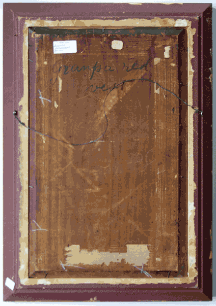 Verso of painting on same type of beveled, wooden board as Man Lighting Pipe, unsigned, collection of author